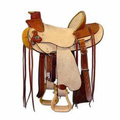 Sella western Tattini modello Brad Ren's Nr 2057, in cuoio rovesciato colore naturale.