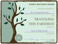 Personalize your own family reunion awards. A blank template is included so you can create your own category. Family Reunion Decorations, Family Reunion Themes, Family Reunion Activities, Family Reunion Shirts, Family Games, Family Reunions, Youth Activities, Group Games, Family Gatherings