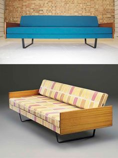 Arms abruptly stop the softness of the colored cushions. Robin Day sofas, 1950s