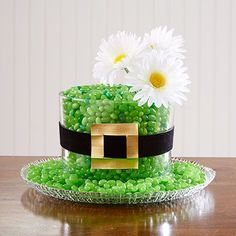 Turn a trifle bowl and a round glass platter into an adorable St. Paddy's Day centerpiece.