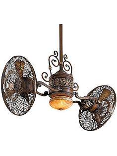 SAAAAWHEET!   Antique Ceiling Fan. Traditional Gyro Twin Ceiling Fan In Belcaro Walnut Finish...hahahahaha..