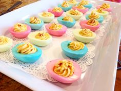 Deviled eggs perfect for baby shower! Deviled Eggs, Mini Cupcakes, Baby Shower, Desserts, Food, Log Home, Babyshower, Tailgate Desserts, Deserts