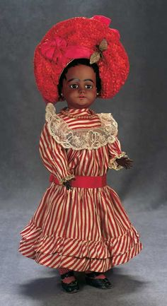 """All-Original Rare German Bisque Character,739,with Brown Complexion by Simon and Halbig 18"""" (46 cm.)"""