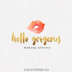 Premade Logo Design Watercolor Kiss Logo Makeup by AtmosphereAlley