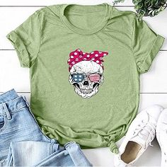 This comfy Funny Skull Punk T Shirt are made from premium quality material and best for everyday wear. The lovely designs of our shirts will brighten your day. Dress up and head out in style! Casual T Shirts, Cute Shirts, Bandana, Style Casual, Printed Shorts, Short Sleeve Tee, Plus Fashion, Womens Fashion, Sleeve Styles