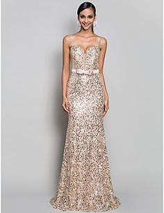 Trumpet/Mermaid Spaghetti Straps Sweep/Brush Train Sequined ... – USD $ 199.99