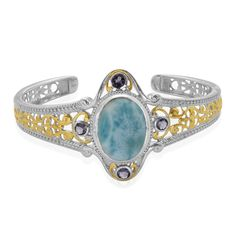 Liquidation Channel   Larimar and Iolite Cuff in 14K Yellow Gold and Platinum Overlay Sterling Silver (Nickel Free)