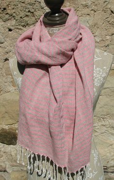 Handwoven Linen Flax Natural And White Scarf (Shawl)- Pure Linen by Amizanti via Etsy
