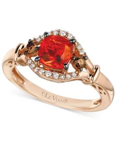 Le Vian Chocolatier Fire Opal (1-1/2 ct. t.w.) and Diamond (1/5 ct. t.w.) Ring in 14k Rose Gold