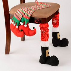Complete your dining room décor with these Santa stompers! Our Christmas Chair Leg Covers are crafted with plush fabrics for an authentic Santa and elf look. Christmas Sewing, Noel Christmas, Christmas Stockings, Christmas Ornaments, Funny Christmas, Christmas Kitchen, Christmas 2019, Christmas Projects, Holiday Crafts