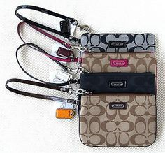 New Coach Wristlet Wallet Small Purse Handbag Canvas Khaki Black $58 F49471