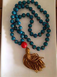 Gold Vein Turquoise Zen Tassel Necklace