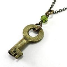 Clean and Simple Antique Skeleton Key Necklace - Vintage Brass Key