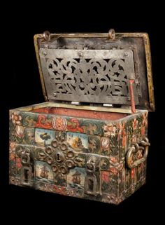 A small, mid-17th, century, painted, strongbox  1600 to 1650 German or Spanish