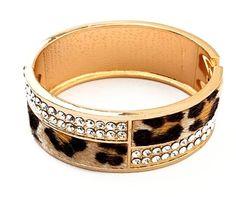 Yamimi Fashion Golden Leopard Print Faux Fur Rhinestone Wrap Opening Bracelet