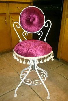 Reserved vintage hollywood regency metal vanity chair small ...