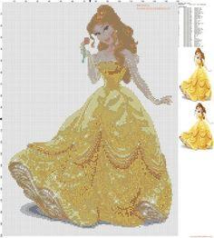 Free Disney Cross Stitch Patterns   ... cross stitch pattern 150x200 31 colors...pattern of Disney's princess