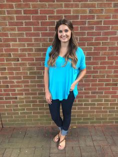 PIKO - short sleeve v-neck Turquoise #shoplovejune #summer #ootd #fashion #boutique #piko