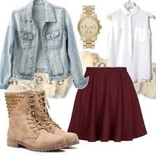 a jean jacket with some tan boots with white tail shirt with bergunie skirt and a gold watch