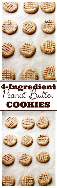 Made with just a few ingredients, these Peanut Butter Cookies are fudgy, sweet & salty, gluten free and naturally sweetened! Peanut Butter Cookie Recipe, Peanut Butter Recipes, Best Cookie Recipes, Sweets Recipes, Baking Recipes, Yummy Treats, Delicious Desserts, Sweet Treats, Bake Sale Recipes