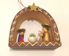 VINTAGE MINIATURE Erzgebirge Nativity GERMANY Handmade CHRISTMAS TREE ORNAMENT