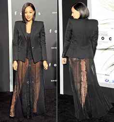 Tia Mowry showed her butt in a black dress that featured a see-through skirt at the Focus premiere on Tuesday, Feb. 24, in Hollywood; see the pics