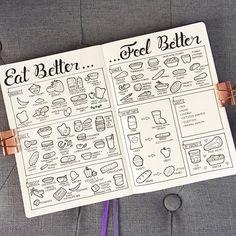Eat Better... Feel Better! . Edited to add that I posted close-ups of this spread in my latest post ❤️ . . . . . . . . . . . . #bujo #bujospread #bujolove #bujolover #bujonewbie #bujojunkies #bujoinspire #bujoaddict #bulletjournal #bulletjournalist #bulletjournaljunkies #bulletjournalnewbie #bulletjournaladdict #journal #journaling #journals #planneraddict #planning #bujoblossoms #leuchtturm1917 #showmeyourplanner #bujodoodle #bulletjournaldoodle #doodles #doodle #illustration…