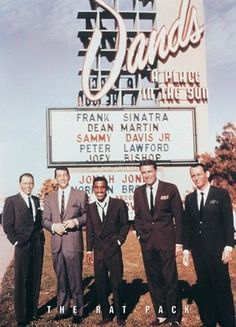 The Rat Pack standing in front of the Sands Hotel in Las Vegas: Frank Sinatra, Dean Martin, Sammy Davis Jr., Peter Lawford and Joey Bishop, 📷 🏨 Sammy Davis Jr, Dean Martin, Martin Movie, Joey Bishop, Vintage Hollywood, Classic Hollywood, Hollywood Men, Hollywood Cinema, Old Hollywood Stars