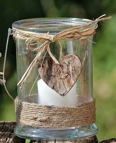 """Lantern """"Kira"""" Height Round Glass with Deco-Heart Tealight Holder Candle Holder . Wood Crafts, Fun Crafts, Diy And Crafts, Mason Jar Crafts, Bottle Crafts, Candle Jars, Candle Holders, T Lights, Bridal Shower Rustic"""