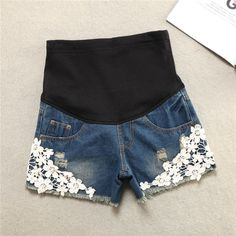 Denim Maternity Shorts with floral embellishments