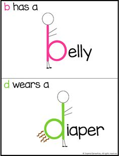 Letter B and Letter D Reversal Posters - Help pre-K and kindergarten students with letter discrimination. This trick is easy for kiddos to remember the differences between tricky letters when learning how to read. Teaching Reading, Teaching Kids, Kids Learning, Elementary Teaching, Preschool Learning Activities, Kindergarten Literacy, Teaching Letters, Teaching Letter Recognition, Reading Intervention