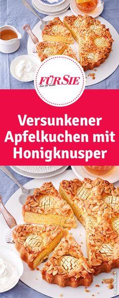 Versunkener Apfelkuchen mit Honigknusper - ausgefallenes Rezept Honey Crunch, Apple Pie, French Toast, Breakfast, Pimp, Food, Cakes, Pie, Apple Recipes