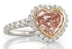 A Fancy Brownish Pink Heart Shaped Diamond, GIA. Surrounded by of Brilliant White Diamonds in Pink and Platinum. Pink Diamond Engagement Ring, Pink Diamond Ring, Pink Ring, Engagement Rings, Heart Shaped Diamond Ring, Heart Shaped Rings, Heart Ring, Diamond Tumblr, Colored Diamonds