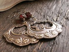 Caravan Baroque Antique Brass Oak Leaf and Ruby by MidnightGypsy, $18.00