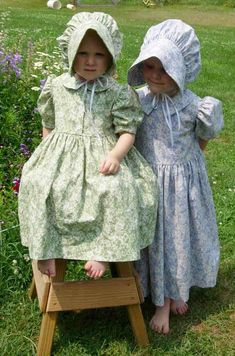 matching dresses and bonnets for children