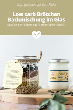 Low carb Brötchen Backmischung im Glas | DIY Upcycling | Koch mit Herz Low Carb Meal, Low Carb High Fat, Diy Upcycling, Food Styling, Food Photography, Salt, Glutenfree, Low Carb Bread, Salts