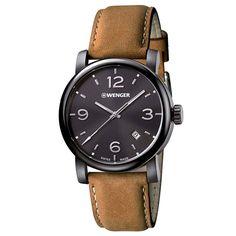 'Wenger 01.1041.129 Urban inoxidable Metropolitana de la Hombres Marrón Cuero Banda Negro Dial reloj: Amazon.es: Relojes
