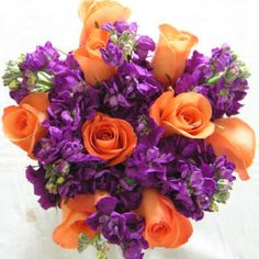 Orange and purple wedding bouquet (and green) with calla lilies instead?