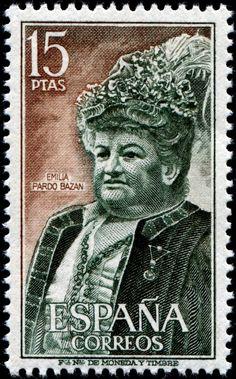 España 1972 - Emilia Pardo Bazán, condesa de Pardo Bazán, fue una noble y aristócrata novelista, periodista, ensayista, crítica literaria, poeta, dramaturga, traductora, editora, catedrática y conferenciante española introductora del naturalismo en España