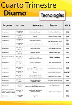 Horarios 4º TRIMESTRE Tecnologías Diurnas : Admisiones y Registro publica los horarios del 4 trimestre para las tecnologías diurnas.