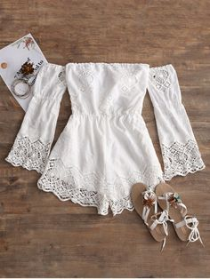 Cover ups Bikini ZAFUL 2018 New Women Off Shoulder Crochet Panel Romper Exposed ., Beach Outfits, Cover ups Bikini ZAFUL 2018 New Women Off Shoulder Crochet Panel Romper Exposed Shoulder Soped Summer Beach Cover Up for Female Cute Girl Outfits, Cute Summer Outfits, Cute Casual Outfits, Short Outfits, Edgy Outfits, Girls Fashion Clothes, Teen Fashion Outfits, Women's Fashion Dresses, Outfits For Teens