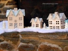 Hobby Lobby Paper Mache houses: Windows and doors covered with silver ribbon Irish Christmas, Woodland Christmas, Simple Christmas, Christmas Holidays, Happy Holidays, Merry Christmas, Christmas Decorations For The Home, Christmas Lights, Holiday Decor