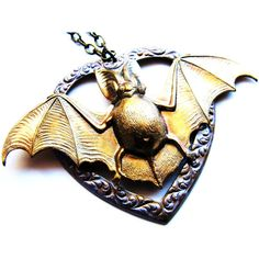 SALE, Artisan Crafted Large Bat Pendant Necklace, Iridescent Gold... (£29) ❤ liked on Polyvore featuring jewelry, necklaces, yellow gold pendant necklace, gothic jewelry, yellow gold jewelry, metal jewellery and gold pendant necklace
