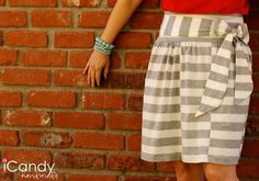 DIY Clothes DIY Refashion DIY striped skirt by iCandy hand kojodesigns