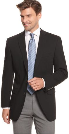 $350, Black Blazer: Calvin Klein Blazer 2 Metal Button Stretch Wool. Sold by Macy's. Click for more info: http://lookastic.com/men/shop_items/143861/redirect