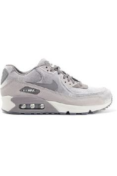 Nike - Air Max 90 Suede-trimmed Velvet Sneakers - Gray | Eeseeagans Online on WeShop Air Max 90 Grey, Air Max Sneakers, Sneakers Nike, Athleisure Trend, Tailored Shirts, Grey Nikes, Shoe Game, Spring Summer Fashion, Nike Air Max