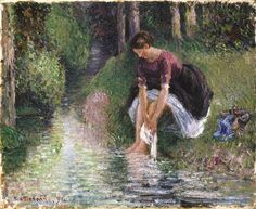 Woman Washing her Feet in a Brook, 1898 ~ Camille Pissarro ~ (French: 1830-1903)