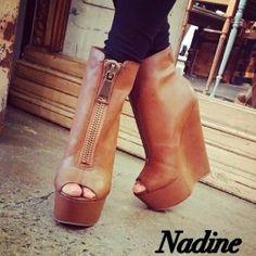 Nadine by ZigiNY TAN Peep Toe Zip Front Wedge $99.99