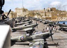 A squadron of Spitfire planes from the World War II while they docked in Malta in 1944