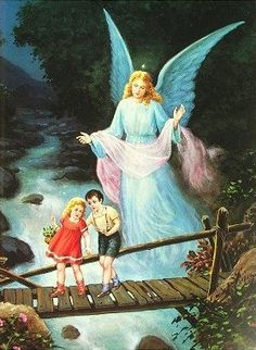 Guardian Angel on Bridge Guardian Angel Images, Guardian Angels, Benfica Wallpaper, Catholic Pictures, I Believe In Angels, Angel Art, Pics Art, Religious Art, Print Pictures